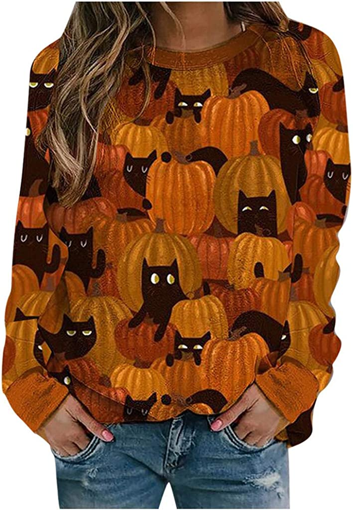 25% OFF Halloween Women's Print Long-Sleeved Tops Max 47% OFF Ghost Cute Bla Pumpkin