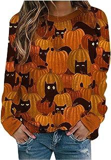 Sudadera de Halloween Pullover Top Sudaderas con Capucha para Mujer Sudaderas Casuales de Manga Larga Suéter Top Camisetas...