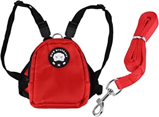 Filfeel Pet Backpack Leash, Small Dog Snack Storage Bag Harness with Lead