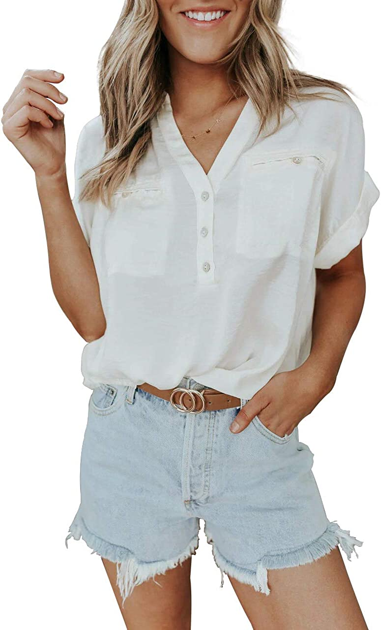 Rilista Womens Button Down Collared Shirts Solid Color V Neck Short Sleeve Pockets Blouses