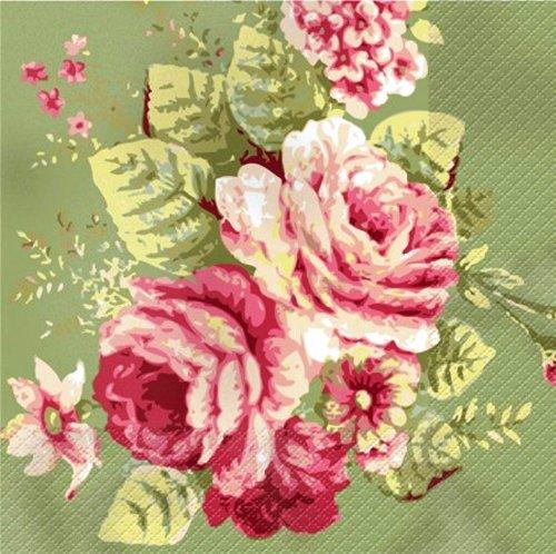 24-Count Elise Premium Patterned Beverage Napkins, Traditional Floral- Madeline