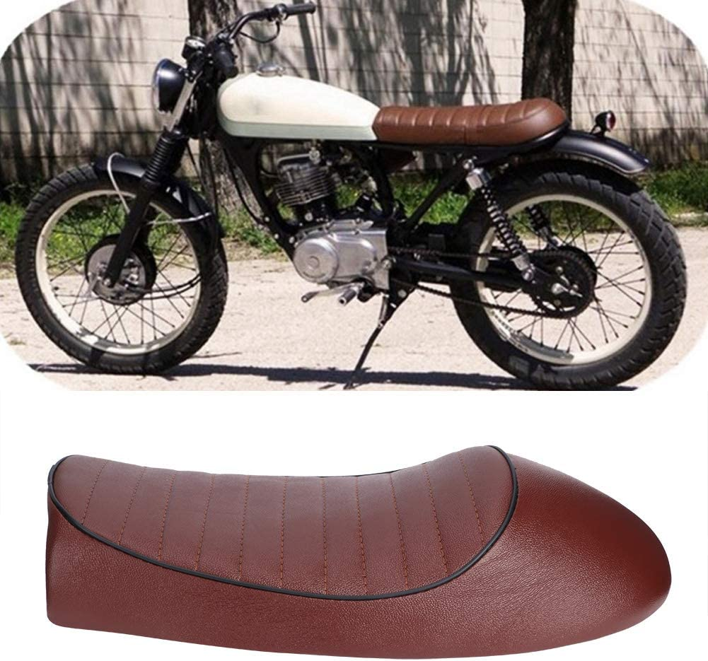 Vintage Cafe Racer Asiento plano coj/ín Asiento del asiento motocicleta PU cuero A