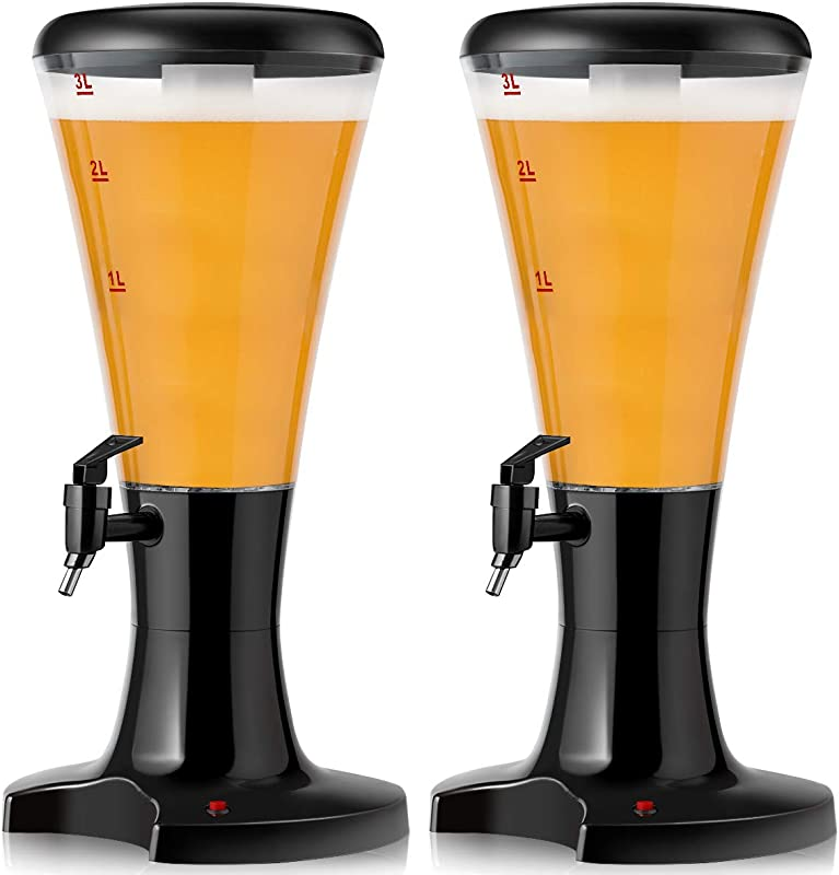 Goplus 2PCS Beer Tower Dispenser 3L Cold Draft Beer Tower Beverage Dispenser With LED Lights Removable Ice Tube Perfect For Party Bar Home Set Of 2