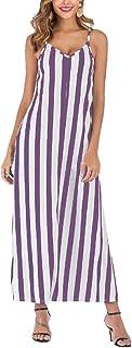 Mogogo Women's Spaghetti Strap Striped Pocket Swing Maxi Flowy Dress