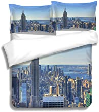 MTSJTliangwan Family Bed Morning in Mahattan NYC 3 Piece Bedding Set with Pillow Shams, Queen/Full, Dark Orange White Teal Coral