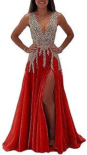 LeoGirl Women's Beaded Illusion Long Prom Dress W/ Slit Fancy Deep V-Neck Evening