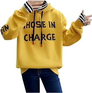 MoonHome Kawaii Style Hoodies Sweatshirt Women's Pullover Plus Velvet Thicker Long Sleeve Oversize Letter Print Hoodie