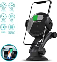 Wireless Car Charger,10W Qi Fast Charging Auto-Clamping Car Mount with Air Vent Clip, Dashboard Mount