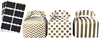 Gold Paper Gable Favor Boxes Chevron Stripe Polka Dot - Scalloped Chalkboard Labels - 24 Pack