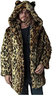 Mens Faux Fur Coat Fashion Warm Leopard Print Winter Soft Thick Comfortable Hooded Long Length Jacket Open Front Cardigan Luxury Outerwear Overcoat