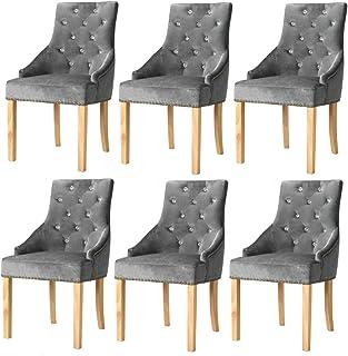 Tidyard Silla de Comedor Set para Comedor/salón/Juego de sillas para Cocina Madera Roble Maciza y Terciopelo Morado 6 uds