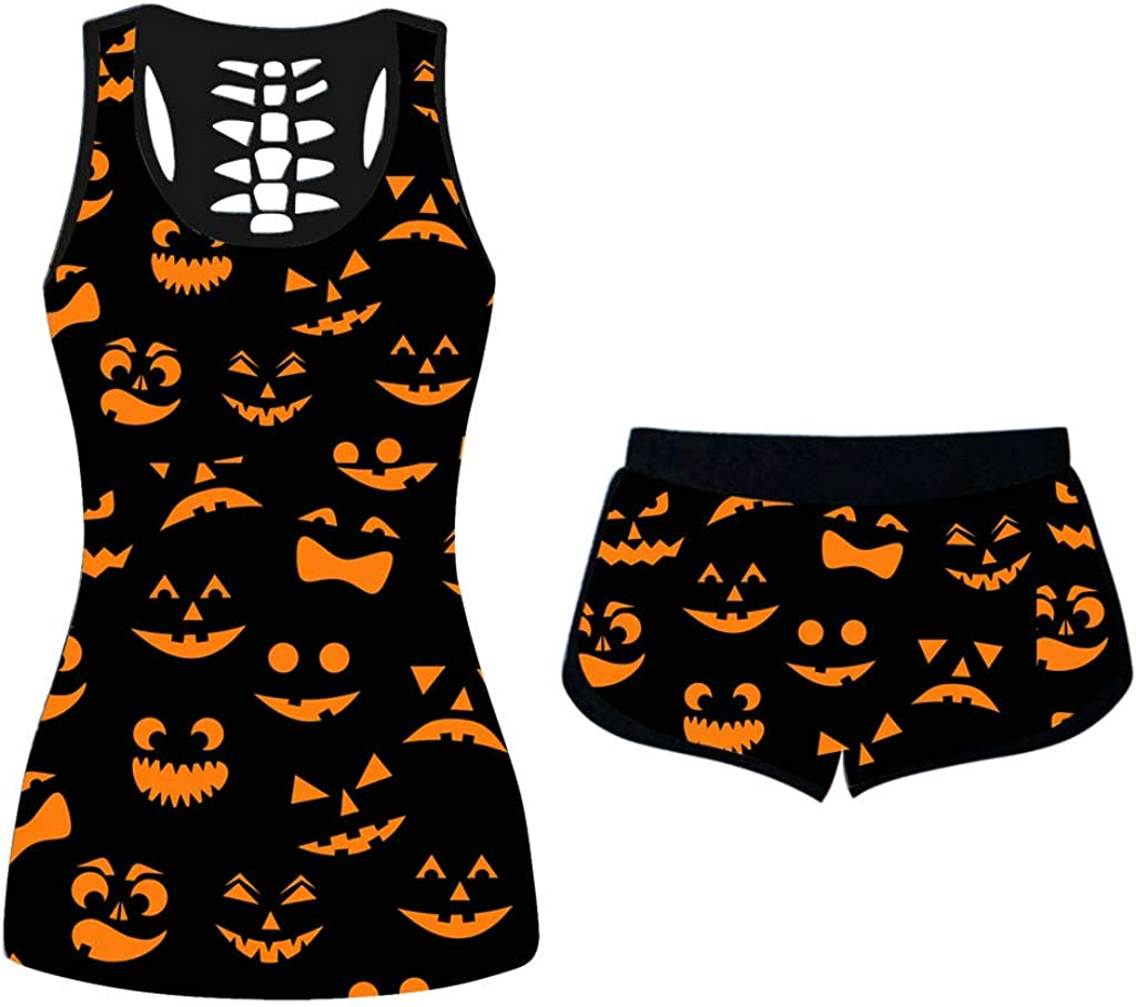 Plus Size Halloween Pajamas Sets for Womens 2 Piece Tank Outfits T Shirt Sleepwear Sets,If You Like My Pumpkin Pie(B)