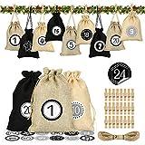 Bluelves Calendario de Adviento, Bolso de Yute, DIY Bolsa para Regalo Navidad, Calendario de Adviento Casero, Bolsa de Regalo Navidad