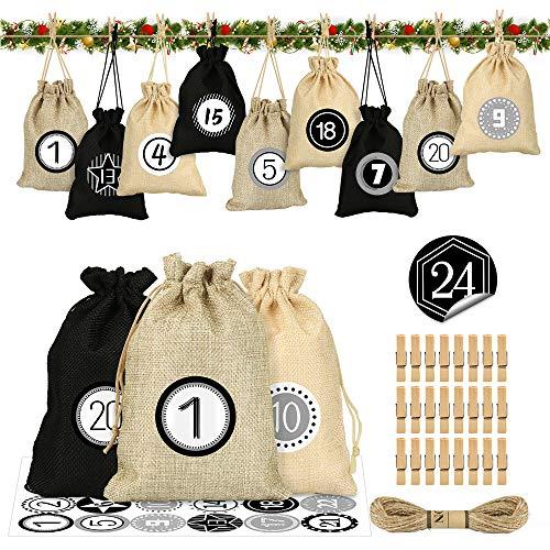 Adventskalender zum Befüllen, Stoffbeutel Adventskalender DIY,Jutesäckchen Adventskalender 2020, 24 Weihnachtskalender Bastelset, Adventskalender Selber Basteln mit 1-24 Adventszahlen Aufkleber