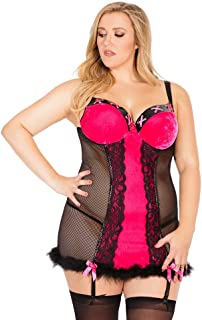 Coquette Women's Plus Queen Size Stretch Velvet and Fishnet Chemise with Faux Fir Hem
