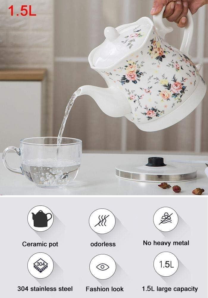 Wyxy Bouilloire électrique sans Fil en céramique avec théière rétro de 1,5 L, 1350 W Rapide pour thé, café, Soupe Rapide (Couleur: A) A