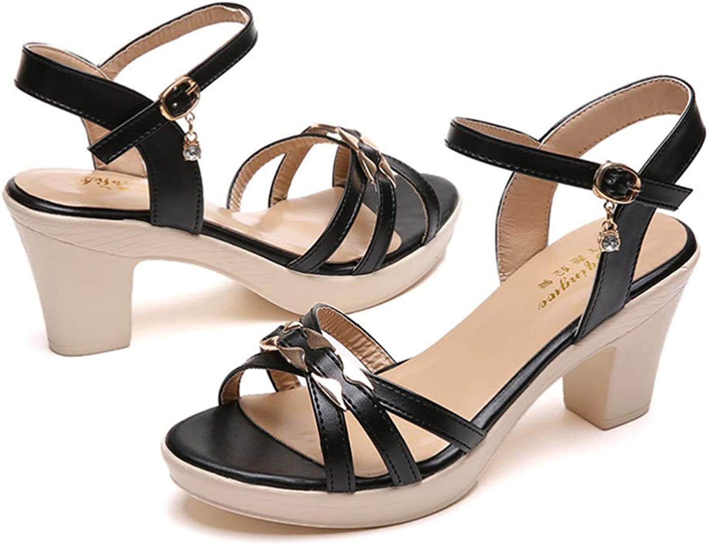 MEIZOKEN Women's Strappy Chunky Heel Sandals Rhinestone Ankle Strap Block Heeled Dress Party Open Toe Sandal