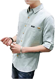 AngelSpace Men Pockets Long-Sleeve Individuality Stripes Patched Shirts