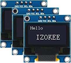IZOKEE 0.96'' I2C IIC 12864 128X64 Pixel OLED LCD Display Shield Board Module SSD1306 Chip 4 Pin for Arduino Display Raspberry Pi 51 Msp420 Stim32 SCR (Pack of 3pcs, White-IIC)