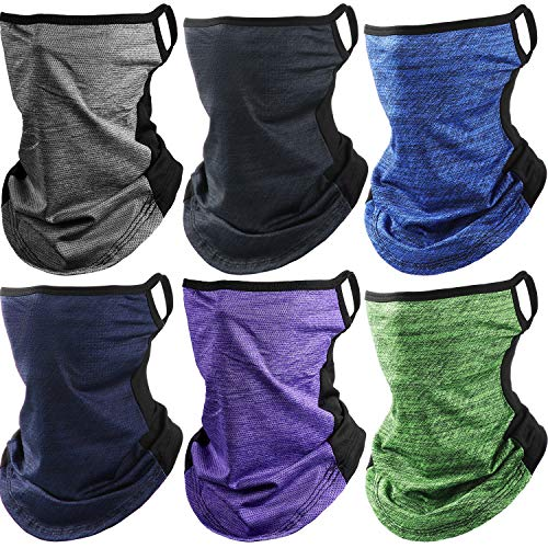 Ear Loops Neck Gaiter Ice Silk Face Cover Scarf with Ear Hanging UV Protection Bandana for Hiking Cycling (Mixed Color)