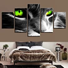 JCILZX HD Prints Pictures Framework Living Room Wall Art Animal Canvas Paintings 5 Pieces Abstract Green Eyed Cat Posters Home Decor