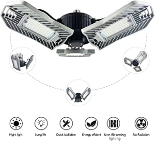 LED Garage Lights, Deformable Ceiling Lights with 8000 Lumens,E26 Led Bulbs,Indoor Led Work Shop Lights,Industrial,Daylight,Overhead Projector(80W Ordinary)