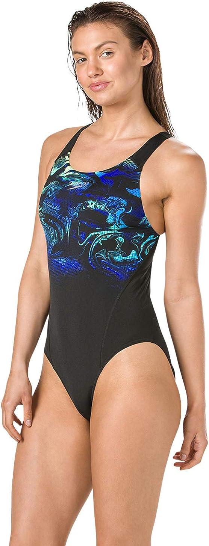Speedo Womens Swirlyaqua Placement Recordbreaker Swimsuit