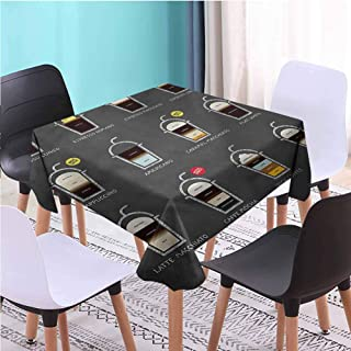 Zara Henry Design Coffee Outdoors Square Tablecloth,ICY Drink Recipe Ingredients Bistro Table Cloths, W55 x L55 Inch