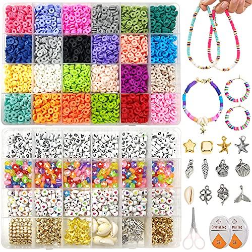 7200 Piezas Abalorios Para Hacer Pulseras, 24 Colores Bolas para Pulseras Kit Abalorios para Hacer Collares, Fabricación de joyas, pulseras, collares, pendientes, regalos de bricolaje para niños