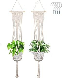 Macrame Plant Hanger, Anglink 2 Pack Wall Hanging Planters with 4 Hooks, Flower Pot Holder Basket Boho Home Decor Stand for Indoor Outdoor Plants