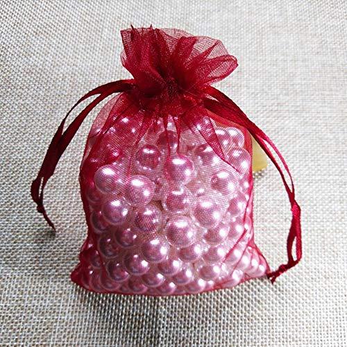 100pcs 5x7 7x9 9x12 10x15cm Bolsas de organza con cordón Bolsas de embalaje de gelatina Bolsa de regalo de fiesta de Navidad Bolsas de regalo de cumpleaños-Vino rojo, 7x9cm