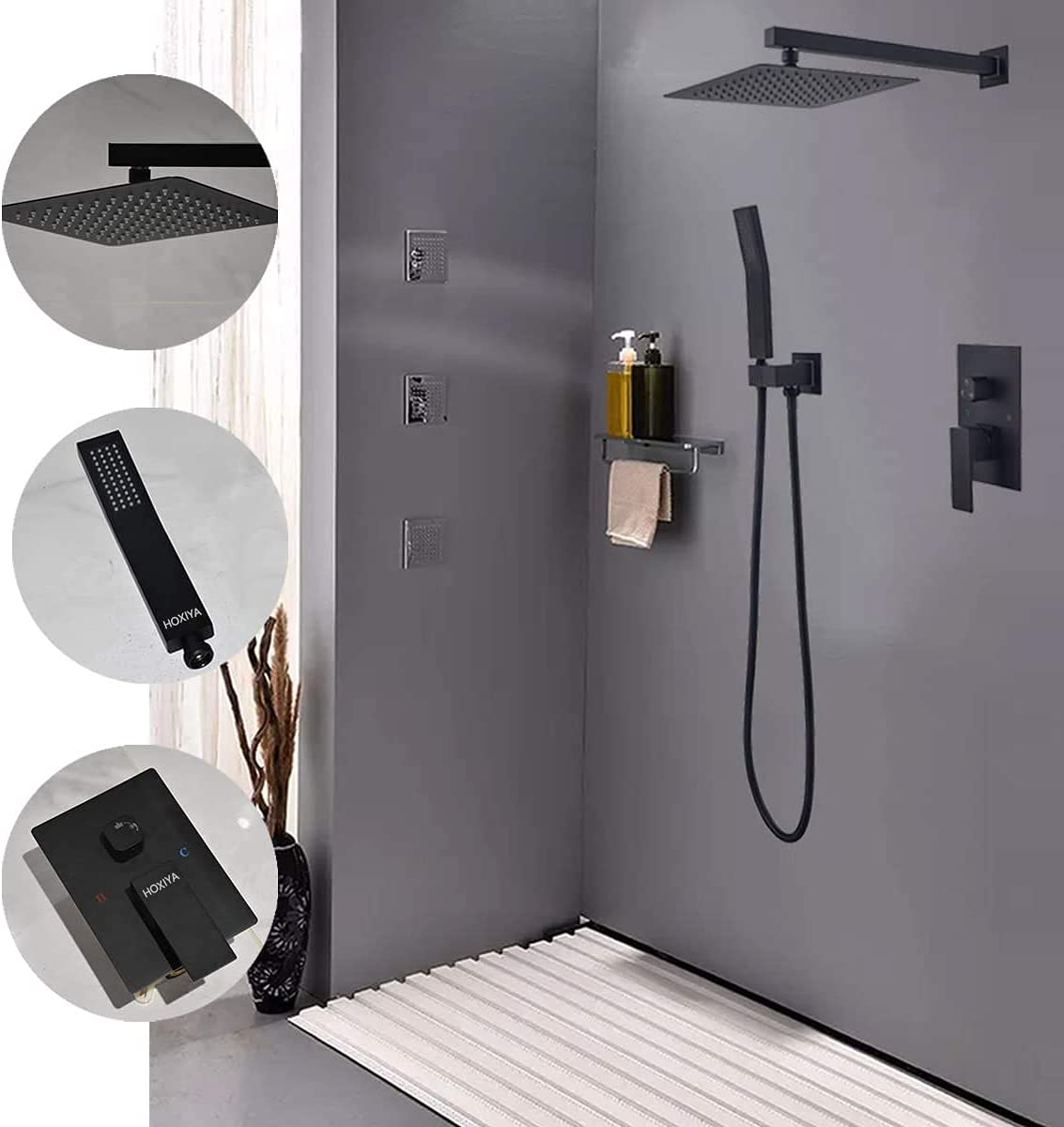 Buy HOXIYA 20 Inch Square Matte Black Shower System, Bathroom ...
