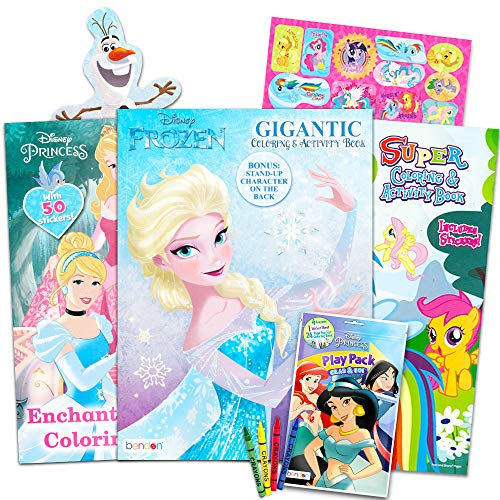 Disney Mlp Coloring Book Super Set For Girls 3 Giant Import It All