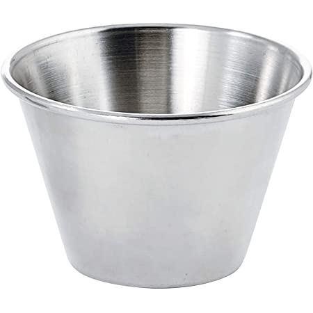 5 Stainless Steel Stackable Condiment Sauce Deep Dipping Cups Pots Plate 25//60ml