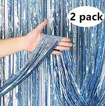 3.2 ft x 13 ft Metallic Tinsel Foil Fringe Curtains for Party Photo Backdrop Wedding Decor (2 Pack) (light blue)