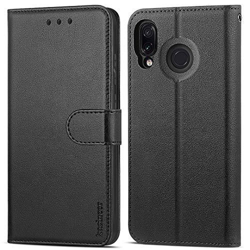 kazineer Schutzhülle für Xiaomi Redmi Note 7, Premium-PU-Leder, Flip-Cover für Xiaomi Redmi Note 7, Schwarz