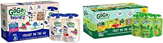 GoGo squeeZ yogurtZ, Variety Pack (Blueberry/Berry), 3 Ounce (60 Pouches) & Applesauce, Variety Pack (Apple/Banana/Mango),...