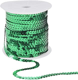 PH PandaHall 6mm Wide 100yards AB-Color Flat Spangle Paillette Sequin Trim Spool String Beads for Dress Embellish Headband Costume, Green