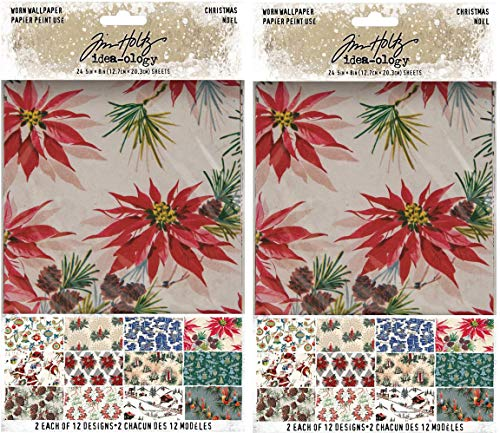 Tim Holtz Idea-Ology 2020 Worn Wallpaper, Christmas - Bundle of Two Packages