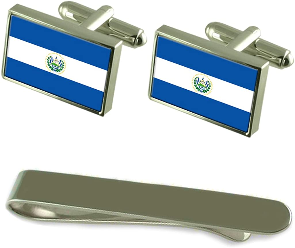 El Salvador Flag Silver Cufflinks Clip Arlington Mall Set Gift At the price Tie Engraved