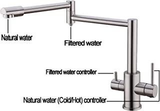 Pot Filler Folding 3 Way Kitchen Faucet with Drinking Water Faucet for Under Sink Water Filter System Delle Rosa Single Hole Two Handles Brass Pot Filler Kitchen Faucet Brushed Nickel