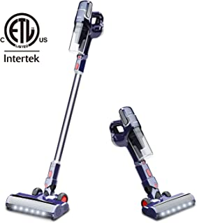 NOVETE Cordless Vacuum Cleaner, 2 in 1 Stick Vacuum with Detachable Lithium Battery, Lightweight Bagless Handheld Vacuum for Floor Carpet Car Pet Hair, LED Cleaning Head and Wall Mount