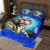 weißer Tiger Bettüberwurf Steppdecke 240x260,König im Naturtier Tagesdecke für Jungen Mädchen,Blaue Rose Blumen Bettüberwurf Gesteppte Decke Ultra weich