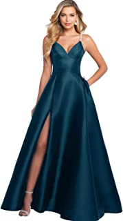 YGSY Women's V-Neck Beaded Pleated Satin Prom Dress Long Formal Evening Ball Gown with Pockets