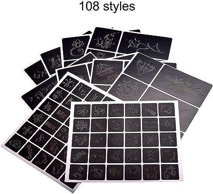 108 patrones de diseño de la plantilla del tatuaje del álbum profesionales y reutilizable tatuaje del