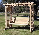 THREE MAN Cedar Colonial Garden Arbor with 6 Foot Swing - Stained