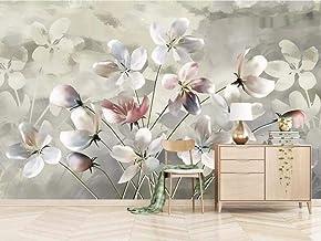 Papel pintado tejido no tejido - Paisaje retro flor blanca 350x256 cm - 7 tiras Fotomurales Decoración de Paredes Modernas para Salón Dormitorio Despacho Pasillo Decoración