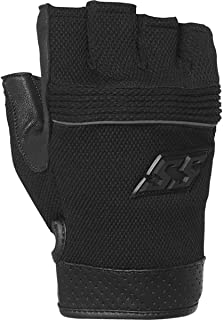 Speed and Strength 1/2 Nelson Fingerless Leather Mesh Men's Street Motorcycle Gloves - Black/Large
