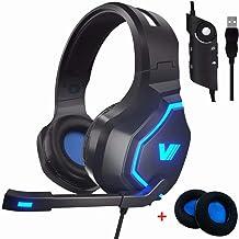 VWELL - Auriculares de diadema para juegos de PC PS4 con luz LED y micrófono con cancelación de ruido 7.1 Surround Sound, ...