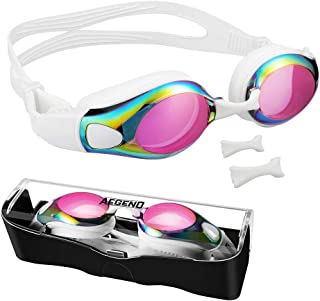 aegend Swim Goggles, Flat Lens Swimming Goggles with 3...
